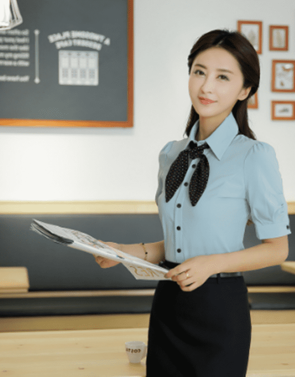 Mẫu áo sơ mi nữ đồng phục văn phòng cổ thắt nơ
