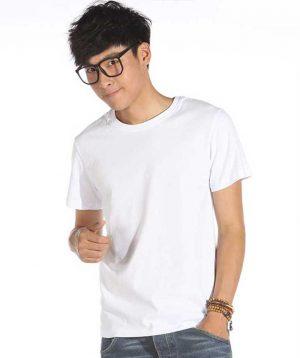 Áo thun cổ tròn trơn màu trắng