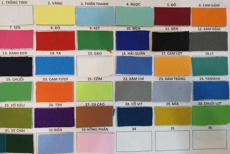 Bảng màu vải thun PE 2 chiều may áo thun