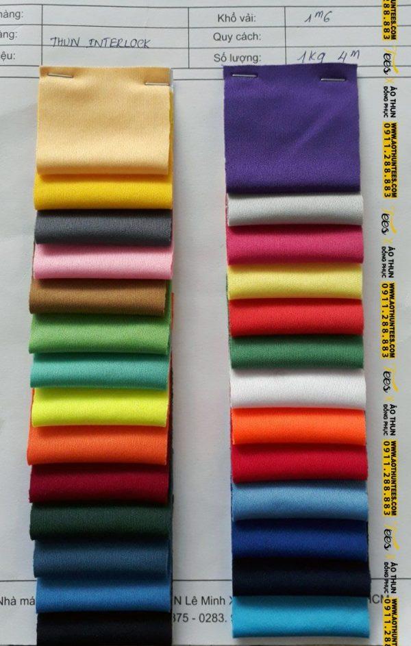 bảng màu vải thun cotton 100% trơn