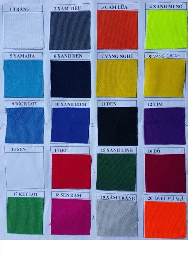 Bảng màu vải mè may áo thun