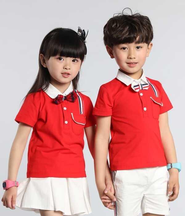 Đồng phục học sinh mầm non váy màu đỏ đính nơ