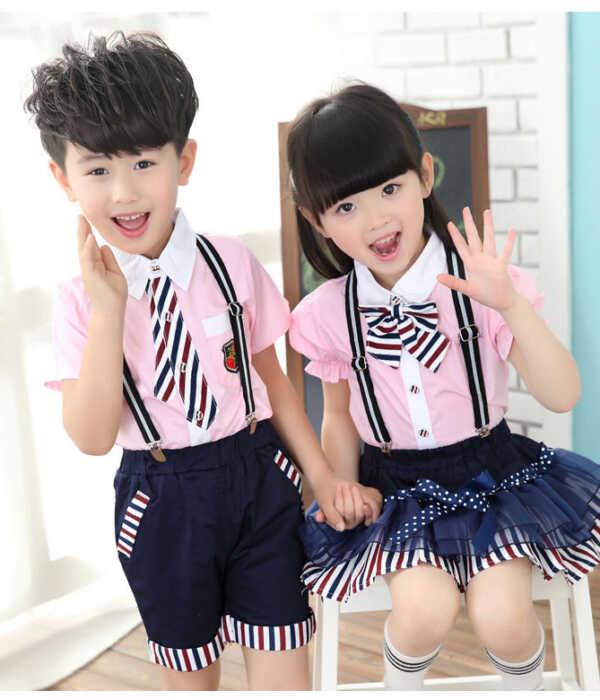Đồng phục học sinh mầm non áo thun màu hồng