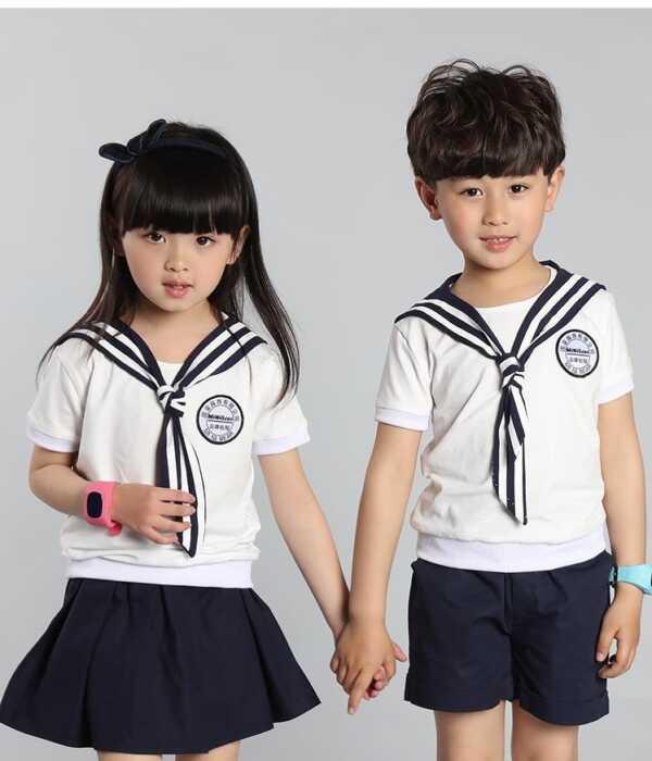 Đồng phục học sinh mầm non áo sơ mi cổ sen tròn