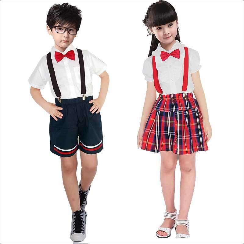 Đồng phục học sinh mầm non váy đính nơ