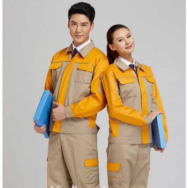 Áo Bảo hộ lao động màu be phối vàng
